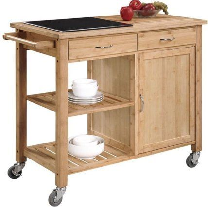 Linon 44015BMB-01-KD-U - Bamboo Kitchen Cart with Inlaid Granite Top, Elegant natural wood finish, Eco-friendly bamboo frame construction, Gorgeous inlaid granite top, Large utensil drawer with towel-rack handle, Wire basket for easy access to frequently used items, Slatted shelf holds up to four wine bottles, Solid shelf for additional storage, Heavy-duty casters for easy mobility, UPC 753793814148 (44015BMB 01 KD U 44015BMB01KDU)