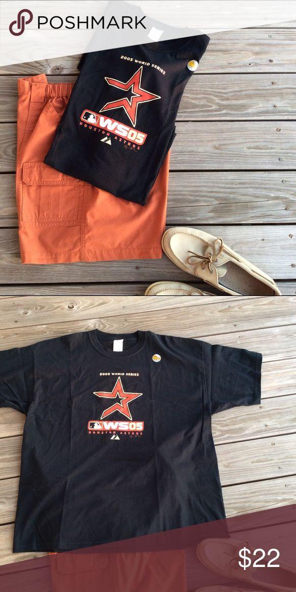 Official 2005 World Series Astros T-Shirt ⚾️⚾️ 2005 World Series Astros T-Shirt w/halo gram Gildan Shirts Tees - Short Sleeve