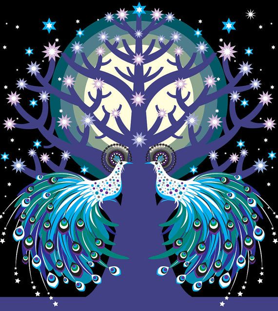 "Holly over the Moon - Suzanne Carpenter - ""Peacock Tree"" print"