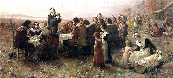 """[PINTURA] Pilgrim Hall Museum  1914 - """"The First Thanksgiving at Plymouth"""",  """"O Primeiro de Ação de Graças em Plymouth"""" (1914)  por Jennie Brownscombe A. (1850-1936) [http://inglesnodiaadia.blogspot.com.br/2011/01/cultura-dia-de-acao-de-gracas.html] [http://en.wikipedia.org/wiki/Thanksgiving]"""