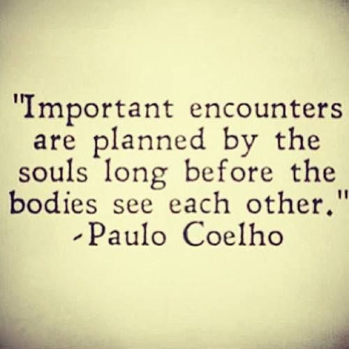 "this couldn't hold any more merit than it already does ""important encounters are planned by the soul"" -Paulo Coelho"
