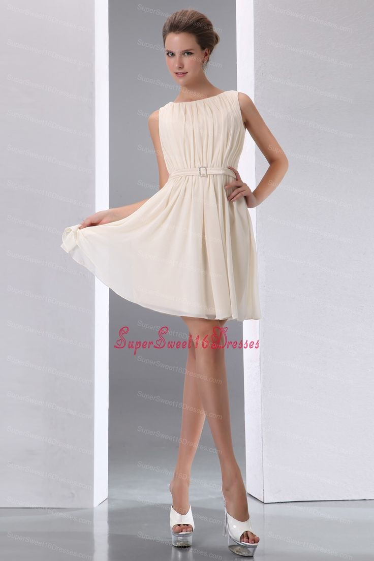 Champagne Sccop Mini-length Chiffon Ruch Dama Dresses for Sweet 16