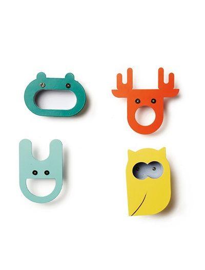 Pack of 4 Coat Hooks GREEN DARK SOLID WITH DESIGN - vertbaudet enfant