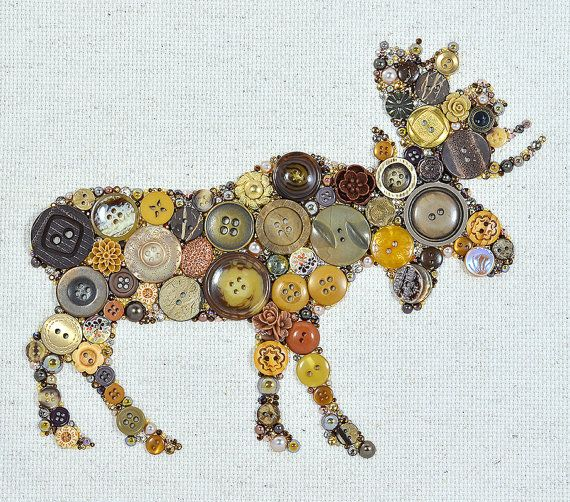 Button Art - Moose - Vintage Button Art, Wall Hanging, Wall Art, Rustic Home Decor, Moose Art, Button Mosaic, Button Artwork, Lodge Decor