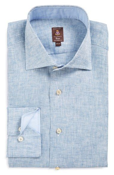Robert Talbott Tailored Fit Chambray Linen Dress Shirt at Nordstrom.com. Breezy chambray linen defines a handsome trim-fit dress shirt featuring a wide spread collar and mitered, adjustable button cuffs.