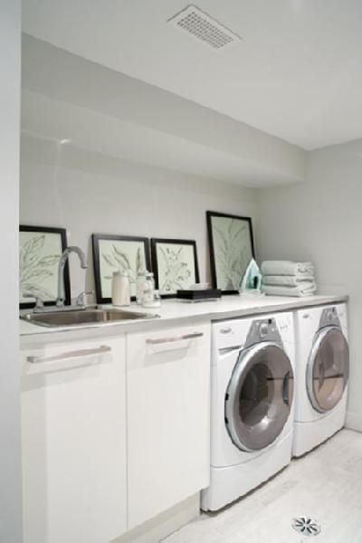 Suzie: House & Home - Peter Fallico - Clean, modern laundry room! White Ikea cabinets, framed ...