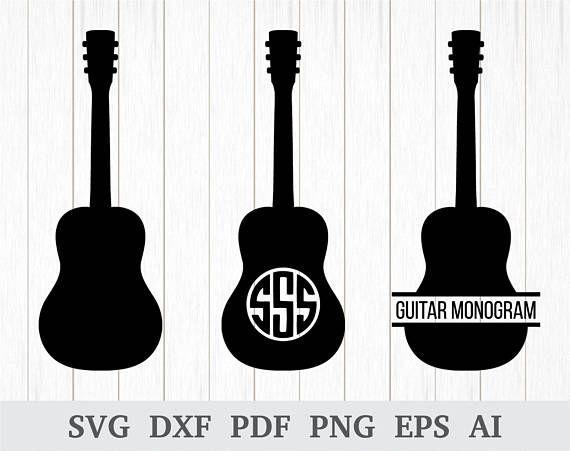 Guitar Monogram SVG Silhouette Clipart