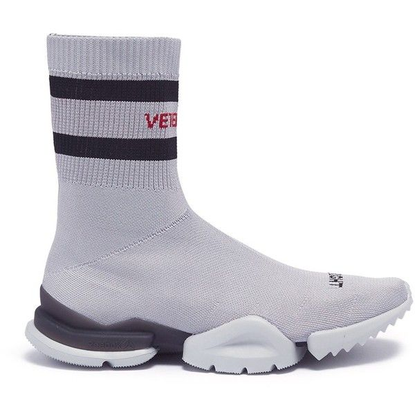 Vetements Logo intarsia unisex sock boot sneakers ($880) ❤ liked on Polyvore featuring shoes, sneakers, grey, grey sneakers, grey shoes, gray shoes, anchor shoes and logo shoes