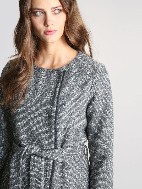 MANTEAU FEMME JACQUARD Tweed gris/écru
