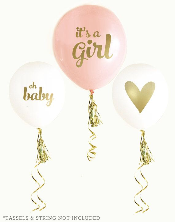 It's a Girl Baby Pink and Gold Shower Balloons Oh Baby by GlitterDaisyShop