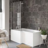 1600x850mm Left Hand L-Shaped Bath - Screen & Front Panel (Excludes End Panel)