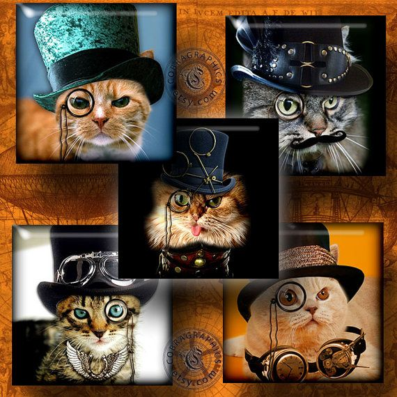 Steampunk Cat  Digital Collage Sheet CG556S  by CobraGraphics, $4.20