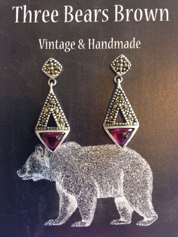Art deco style vintage marcasite earrings with by ThreeBearsBrown