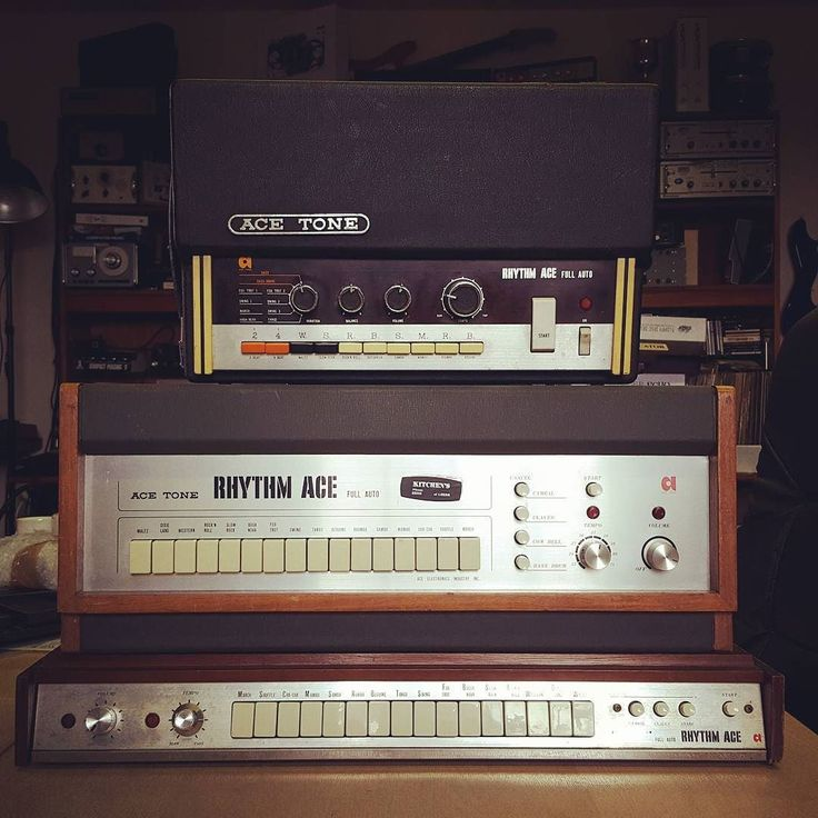 Ace Tones. Great-sounding proto-Roland drum machines. FR-1 has just sold FR-2L is ready now FR-3 is waiting for service...  #acetone #roland #rhythmace #drummachine #jjcale #gearporn #soundgas #supersonicgear