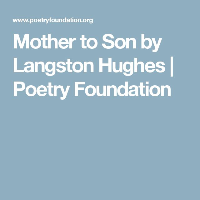 the short story of mother to son english literature essay English literature (31,192 essay writing guide learn the art 'father and son' by bernard mclaverty is a short story which is set in a time of conflict and.