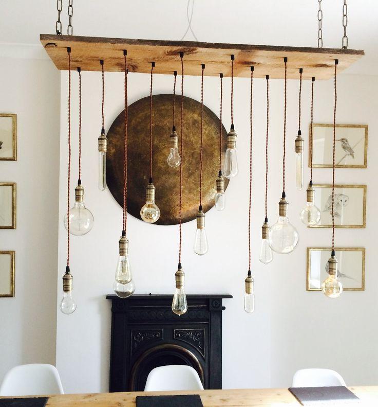 Vintage LED Bulb Wood Chandelier Pendant Lighting