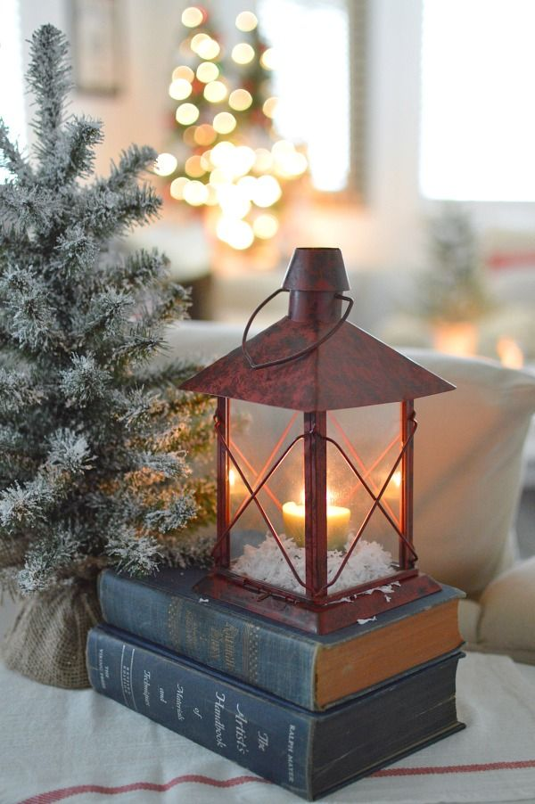 Holiday Home Tour, Christmas at Fox Hollow Cottage - Candle lantern, snow, pretty thrift store books