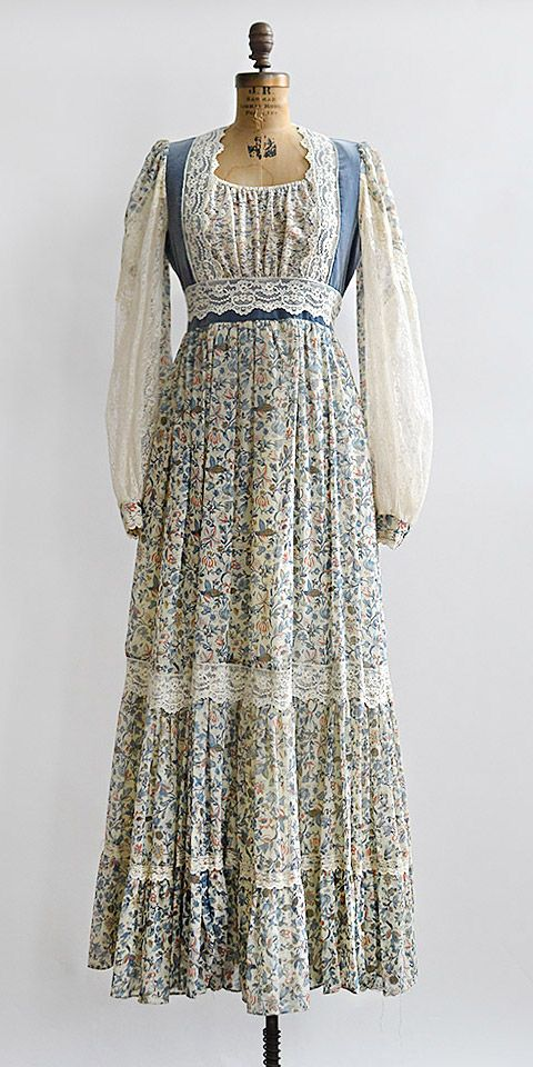 vintage 1970s gunne sax blue floral boho dress
