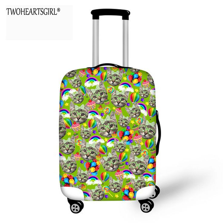 TWOHEARTSGIRL Lovely Cat Luggage Cover Thick Stretch Protective Suitcase Covers Elastic 18-30 inch Anti-dust Trolley Case Covers