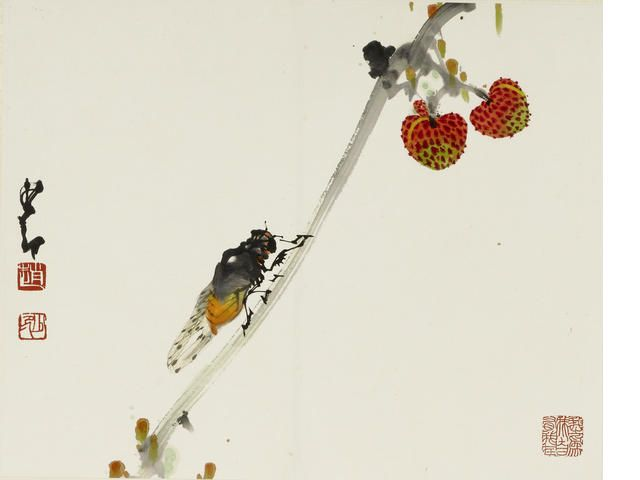 Zhao Shao'ang (Chao Shao'ang, 1905-1998).  Birds and Insects, Ink and colour on paper.