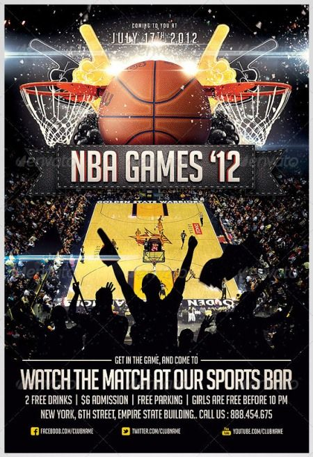 basketball sports flyer templates