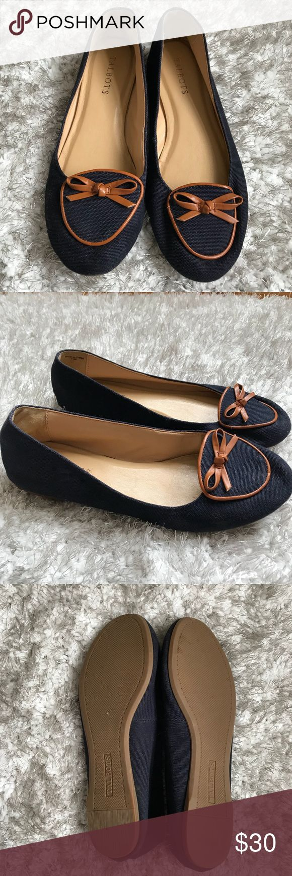 Talbots Navy Blue Flats/Loafers Size 7.5 Brown Bow Talbots Navy Blue Flats/Loafers Size 7.5 Brown Bow. EUC, barely worn. So cute and comfortable. Perfect career shoes for the office. Talbots Shoes Flats & Loafers