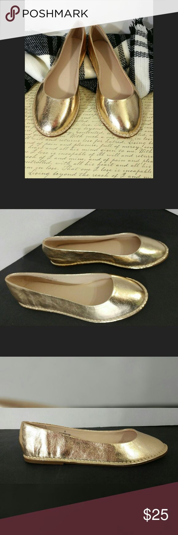 """New ASOS Size 7 Metallic Gold Flats Condition: New with no box or tag  Size: 7/US, GB/5, EU/38  Metallic gold, slip on flats, 1/4"""" heel, stitching on outside ASOS Shoes Flats & Loafers"""