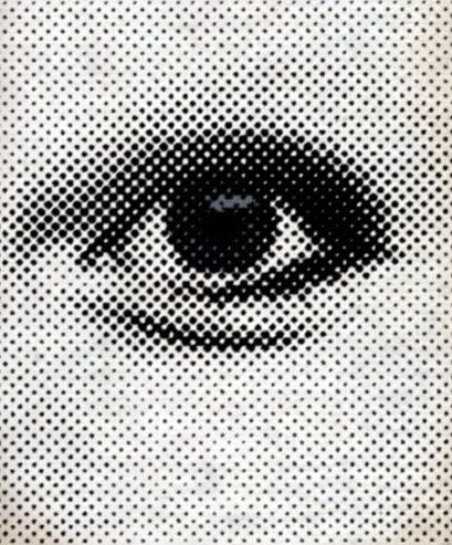 // Half-tone printed images are made up entirely of small individual dots of ink which, when viewed from afar as an entirety, provide the appearance of a full, continuous image. This method allows for less ink usage and as such is often employed by publications wherein ink to space efficiency is necessary, such as newspaper printing.