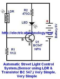 Automatic Street Light Control System.(Sensor using LDR & Transistor BC 547.) Very Simple. | Electrical Technology