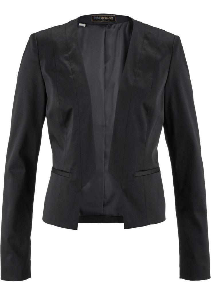Blazer zwart - bpc selection nu in de onlineshop van bonprix.nl vanaf € 26.99 bestellen. Korte blazer met schoudervullingen en twee paspelzakken voorop. ...