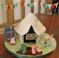 """Music Festival themed wedding8"""" cake and all decorations £150"""