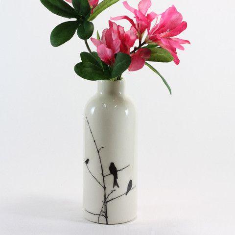 Ceramic Bottle - Birds | Raw Ceramics