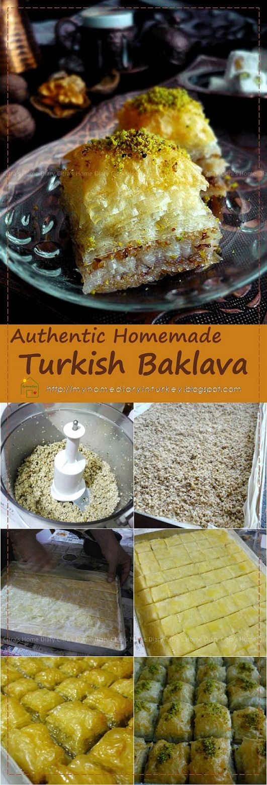 Baklava is a rich sweet pastry made of many layers of fillo dough filled with finely chopped nuts between few layers soaked in thick sugar syrup (or honey) #baklava #turkishbaklava #turkishfood #dessert #pistachio #authenticrecipe #resepbaklava
