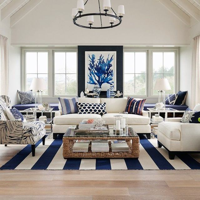 Eternally chic - navy & white is the all-time classic Hamptons colour palette. Add a touch of Hamptons glamour to your interior with a stylish navy accents and elegant furniture. Navy evokes calm and