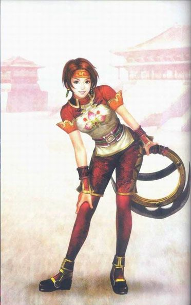 "Sun Shangxiang. Can't pronounce it so ""the-girl-who-throws-the-ring-thingies"" from Dynasty Warriors 4."