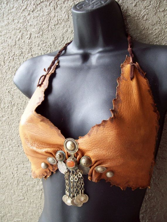 Henna Gypsy Halter Bra  burning man tribal door ArchaicLeatherworks, $85.00