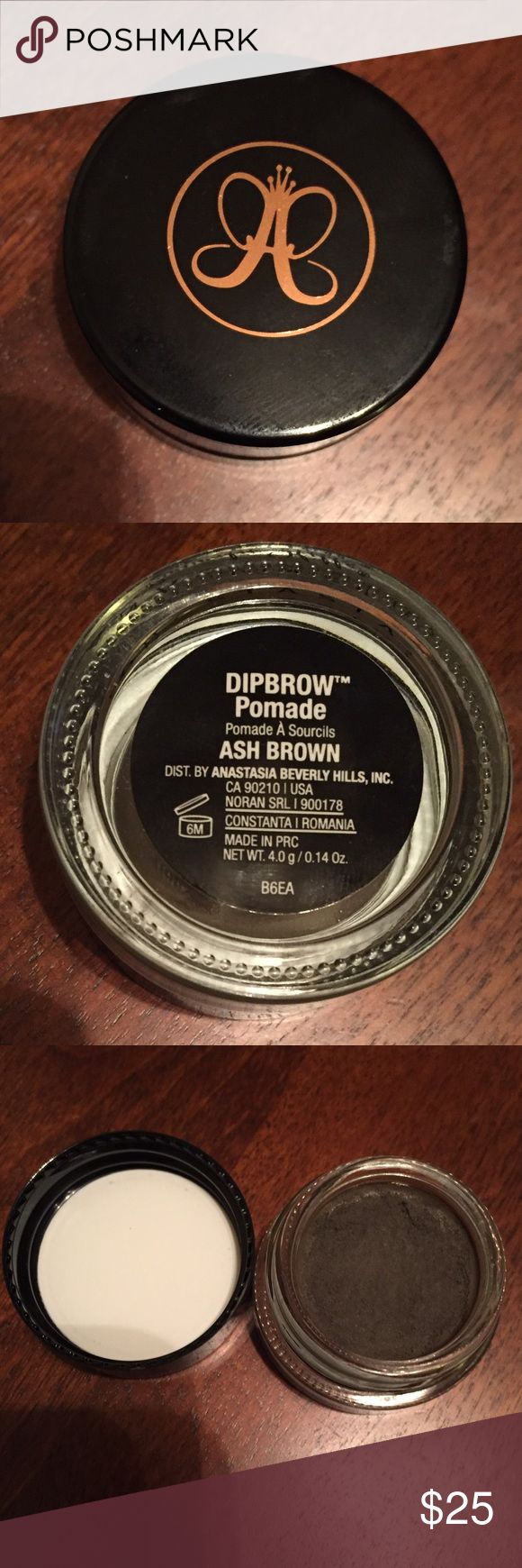 ANASTASIA BH DIPBROW POMADE ASH BROWN Barely used! Anastasia Dipbrow Pomade in ASH BROWN. Includes NEW (without box) brush #12! Originally $18 each. ***NO TRADES*** Anastasia Beverly Hills Makeup Eyebrow Filler
