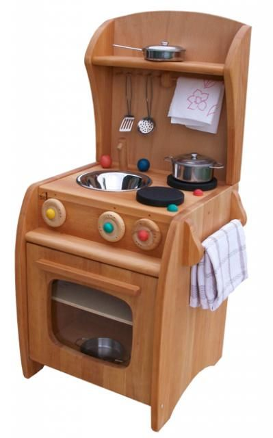 Alder Wood Play Kitchen Complete - from Myriad Natural Toys & Crafts
