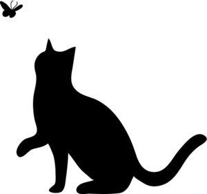 Cat Clipart Image: Silhouette of a Cat Playing With a Butterfly