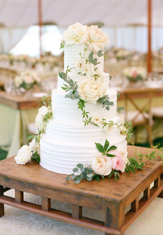 18 einfache weiße Hochzeitstorten-Ideen für Ihre Hochzeit 2018 #cakes #weddings #wedd …   – trouwtaart