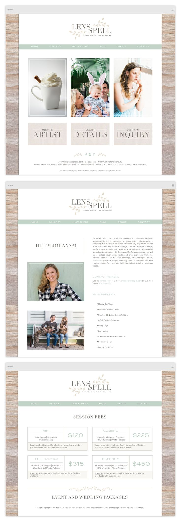 Custom ProPhoto Website Design by Tiffany Kelley Design :: Web Design #design…