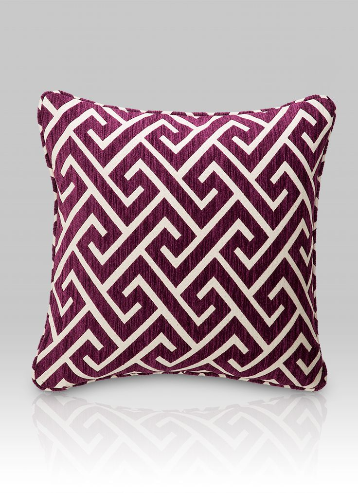 HotelHome Apollo Pansy Purple Large Decorative Hotel Cushion #hotelhome #hotelcushion #geometric #greekkey