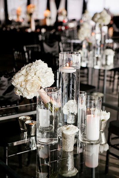 modern black and white wedding with white floral details