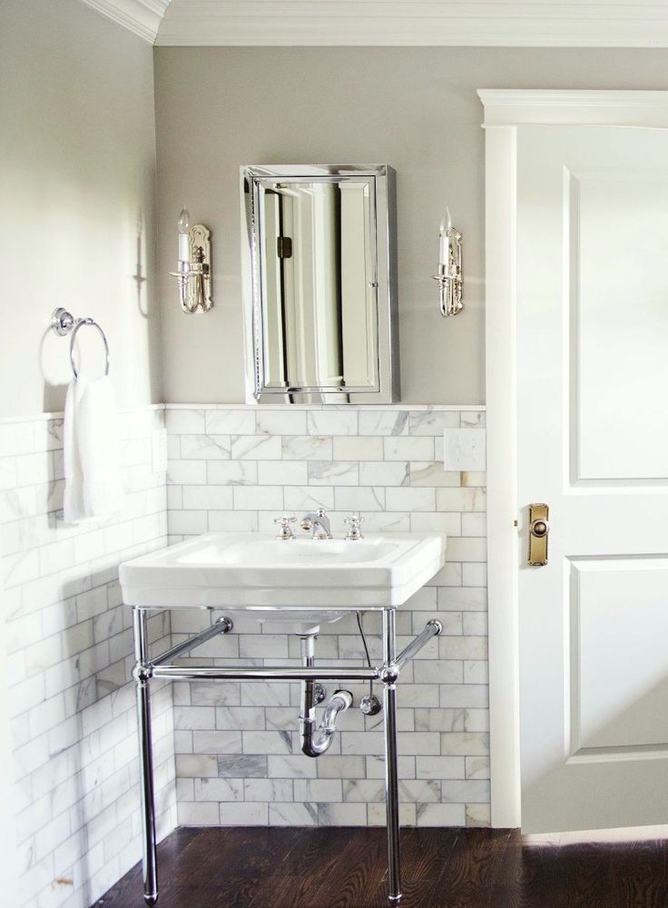 Nine Fabulous Benjamin Moore Warm Gray Paint Colors - laurel home | Marianne Brown via HGTV Blog | love the elegant retro feel of this bathroom!