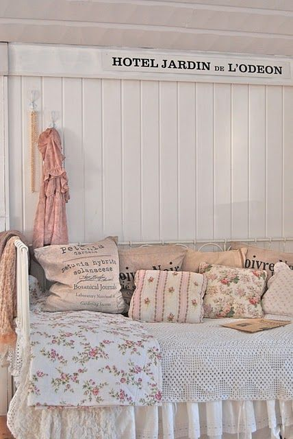 Love this bed with the rosy blanket and pillows #country #French #shabby chic #pink #white #feminine #floral #roses #lace #bedroom