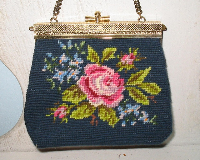 Vintage needlepoint purse by the vanity table, via Flickr
