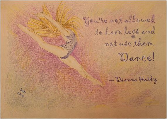 Dancer leaping through the air, Original hand drawing, colored pencil on light pink paper