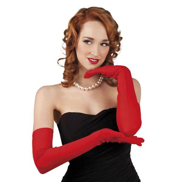 Hansker, lange 60 cm rød | Festmagasinet Standard