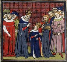 Charlemagne instructing Louis the Pious [his son who banished his sisters from court and put them in convents]. See wikipedia form ore information.