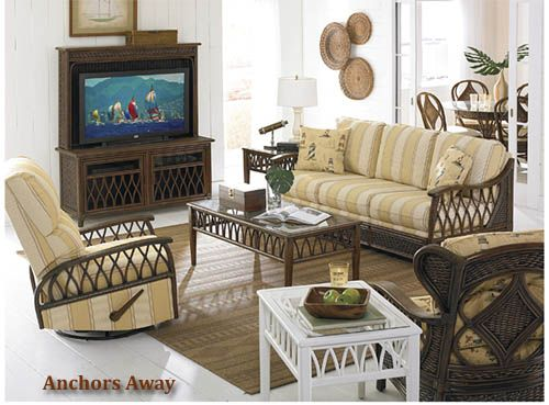 Anchors Away Rattan and Wicker Living Room Set and Individual Pieces   Capris Furniture Living Room Series 361